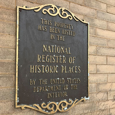 The historic registry sign outside the Staples Depot.