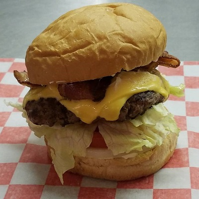 A hamburger prepared by Wahoo Valley in Staples, MN.