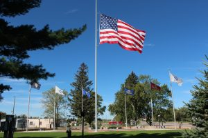 The US Flag flies high at the Staples Veterans Park