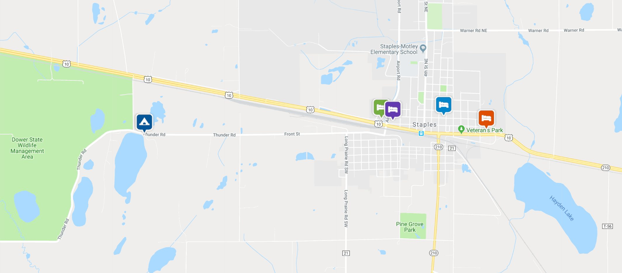 Map of places to stay in Staples, MN