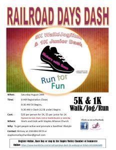 Railroad Days Dash 2019 Flyer
