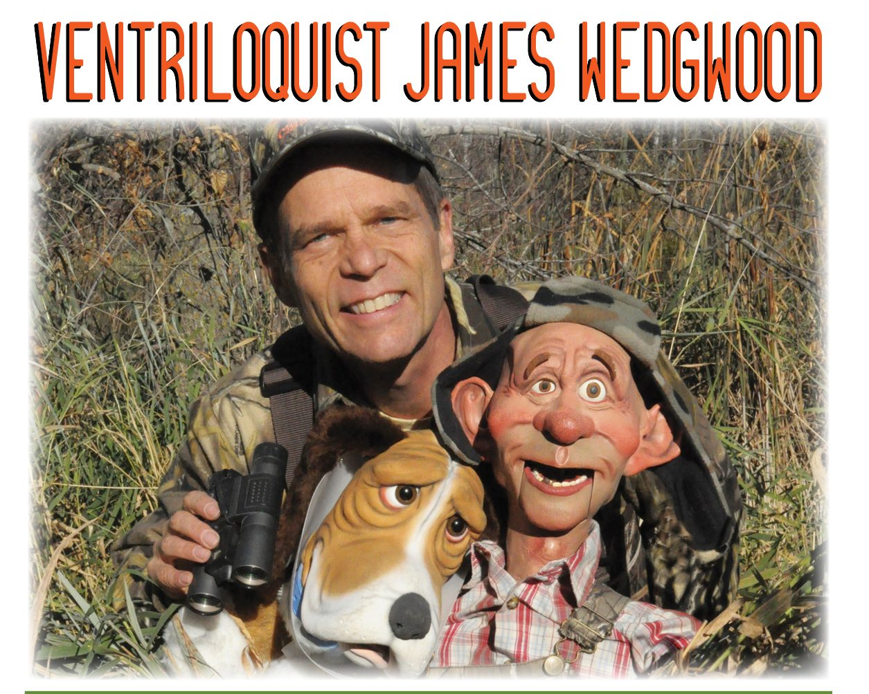 Promo picture of ventriloquist James Wedgwood and his puppets.