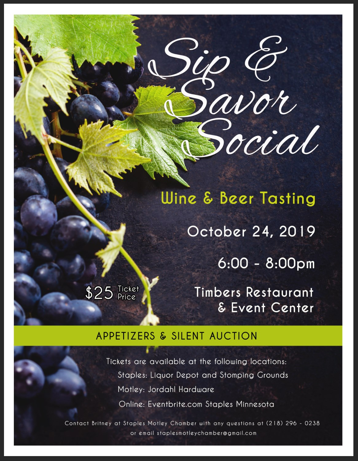 Sip and Savor event poster 2019