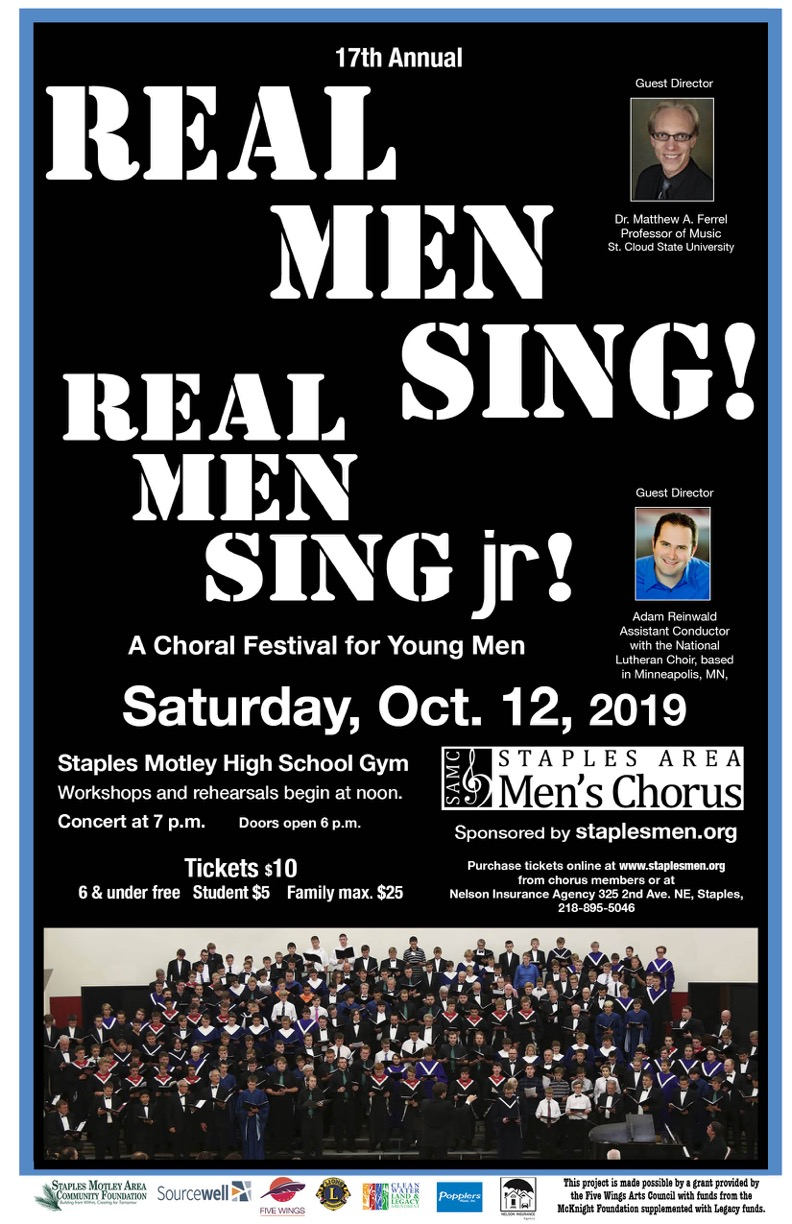 Real Men Sing event poster 2019