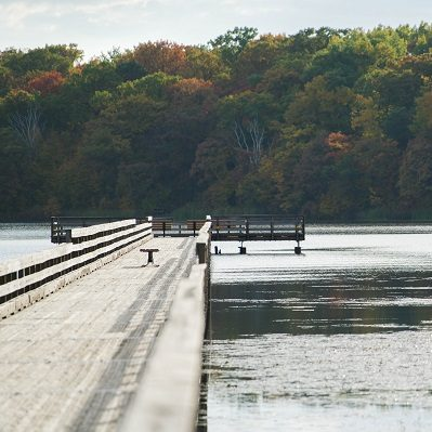A picturesque view of the fishing pier at Dower Lake.