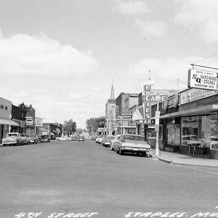 A photo of the downtown in Staples, MN, from the 1950s