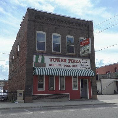 The front of the building housing Tower Pizza in Staples, MN.