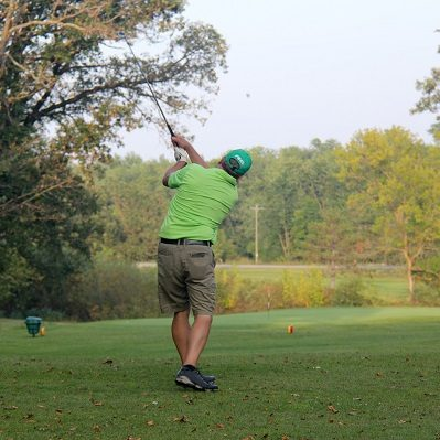 A man tees off at The Vintage Golf Course in Staples, MN.